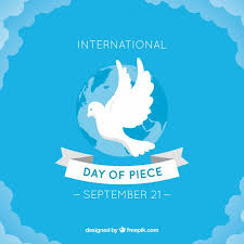blue peace day background with white dove vector free