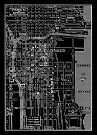Map Of Downtown Chicago 1949 Vintage Map Of Downtown Chicago Illinois 11x17 Black Map