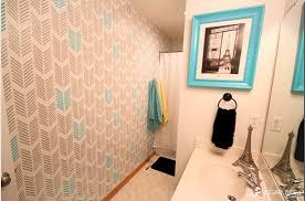 bathroom stencil ideas a drifting arrows stenciled bathroom makeover stencil stories