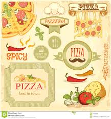 pizza slice and ingredients background box label packaging design