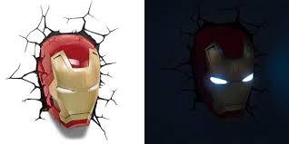 Avengers Wall Lights The Avengers 3d Wall Art Nightlight Iron Man Face