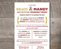 Fun Wedding Programs 6 Best Images Of Etsy Wedding Program Templates Printable