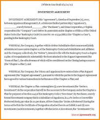 investment contract agreement example investment agreement