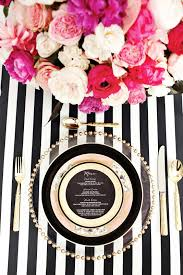 kate spade inspired table setting with striped napkin instead of
