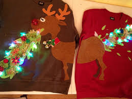 ugly christmas sweater couple sweater vomitting reindeer with