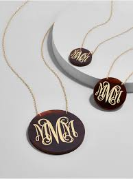 monogrammed pendant necklace acrylic script etched monogram pendant necklace necklace baublebar