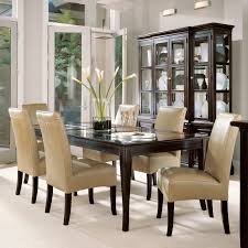 Gray Leather Dining Room Chairs Rectangle Dark Brown Wooden Table With Glass Top Combined With