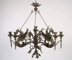 french wrought iron dragon medieval chandeliers circa 1940