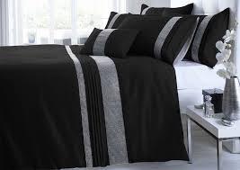 Black Duvet Cover King Size King Size Black U0026 Silver Diamante Faux Silk Duvet Cover Bed Set