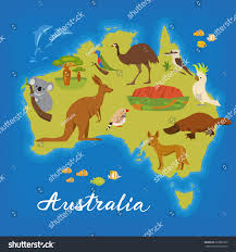 Austrailia Map Australia Map Cute Animals Vector Poster Stock Vector 378065185