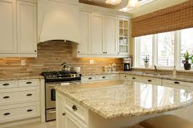 Contemporary Kitchen Backsplash Cream Cabinets White With Clipped - Kitchen backsplash ideas with cream cabinets