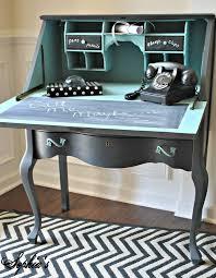 Chalk Paint Desk by Diy Painted Black Teal Blue Vintage Phone Secretary Desk With