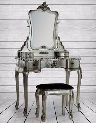 silver french style dressing table mirror and stool set