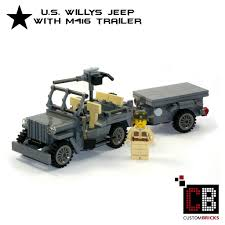 lego jeep custom wwii willys jeep and m416 trailer with soldier out of lego