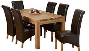 1home glass top oak cross base dining table w 6 8 leather chairs