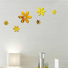 wall stickers 6pcs mirror flower sticker art decal diy wall home decor room decorations 2018 new wallpaper decal