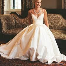 discount popular design white taffeta wedding dresses 2017