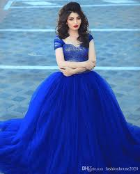 gown designs arabic design royal blue wedding dresses cap sleeve fully