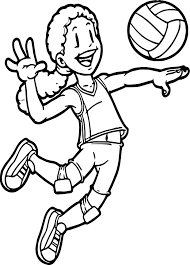 kids playing sports volleyball coloring page wecoloringpage