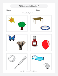 mass and measurement math worksheets for primary students for