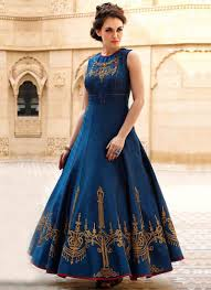 party wear dress buy beautiful blue party wear gown at indian dresses