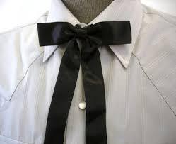vintage black satin western bow tie mid century cowboy style