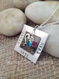 Mothers Necklace With Children S Names Hand Stamped Heart Mom Necklace With Names Stamped Mom Necklace