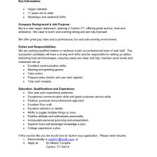 Waiter Job Description Resume Resume Sample Waitress Job Description Resume Duties Cocktail