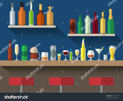bar counter stools alcohol drink on stock vector 196715177