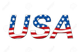American Flag In Text Usa Written In Letters In The Shape Of The American Flag Stock
