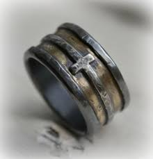 manly wedding bands mens wedding band rustic silver brass and sterling silver