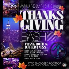 thanksgiving open bar for 5 at attic rooftop nyc new york ny