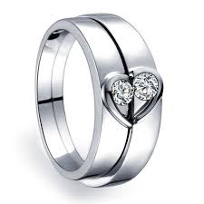 wedding bands for him and unique heart shape couples matching wedding band rings on silver
