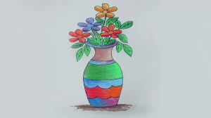 Draw A Flower Vase How To Draw A Flower Vase Sayataru Creation Youtube