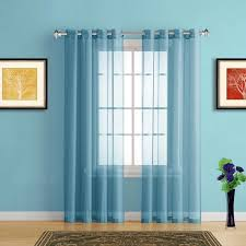 Blue Window Curtains Sheer Window Curtains With Grommet Top In 19 Colors