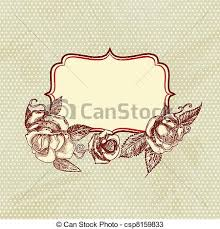 vectors of vintage text frame with roses old paper background