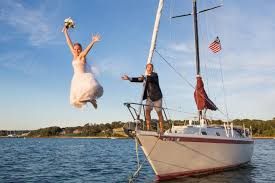 wedding on a boat lol beautiful walks the plank after the aisle