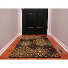3x5 Area Rug Ottomanson Ottohome Collection Contemporary Damask Design Brown 3
