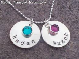 Birthstone Name Necklace Mother U0027s Hand Stamped Necklaces U0026 Birthstone Name Jewelry Metal