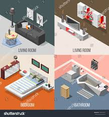 futuristic home interior futuristic home interior isometric concept including stock vector