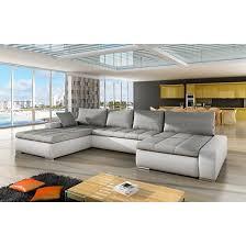 Corner Sofa Sleeper Fabric And Pu Corner Sofa Bed In White And Grey