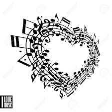i love music concept heart made with musical notes and clef