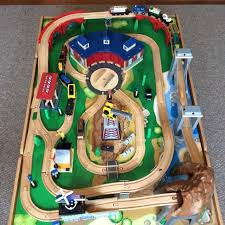imaginarium classic train table with roundhouse find more price drop imaginarium classic wooden train table with
