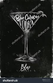 pink martini drawing blue lagoon cocktail lettering lemonade blue curacao vodka in