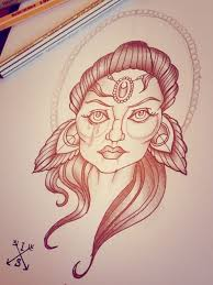 gypsy woman face with feathers tattoo design