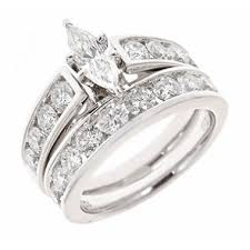 marquise cut wedding set 2 95 ct t w marquise and engagement ring set in 14k