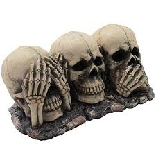 no evil skulls figurine for scary halloween decorations and spooky skeleton statues and medieval fantasy home decor sculptures and gothic gifts 2 1000x1000 jpg