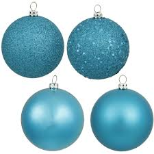 4 inch turquoise assorted ball ornaments box of 12 balls n591012a