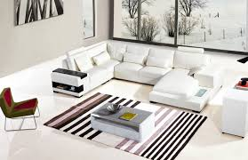 Modern White Leather Sectional Sofa by Casa Diamond Modern White Bonded Leather Sectional Sofa