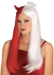 red and white devil u0026 angel wig heaven or hell halloween party